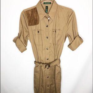 Ralph Lauren safari long dress size small belt
